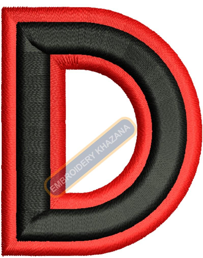 FOAM LETTER D WITH OUTLINE EMBROIDERY DESIGN